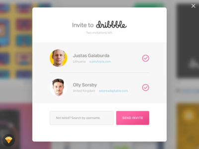 Day 021 - Dribbble Invitation Modal (w/ Sketch File) freebie sketch dribbble invite modal invitation dribbble day021 daily100