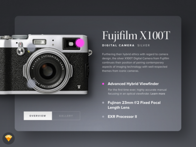 Day 022 - Technical Specifications (w/ Sketch file) specs specifications technical camera widget modal source freebie free sketch day022 daily100
