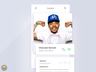 Day 025 - Contact Profile Screen (w/ Sketch file) app source ui freebie sketch screen profile contact day025 daily100
