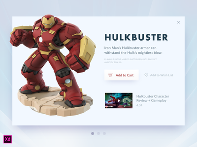 Day 027 - Hulkbuster Card (w/ Adobe XD file) overlay cart modal widget hulkbuster source ui freebie xd adobe xd day027 daily100