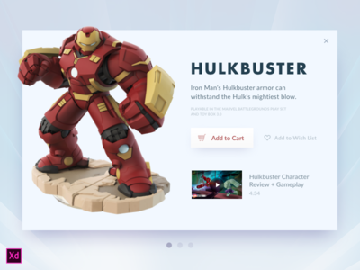 Day 027 - Hulkbuster Card (w/ Adobe XD file) overlay cart modal widget hulkbuster source ui freebie xd adobe xd day027 daily100
