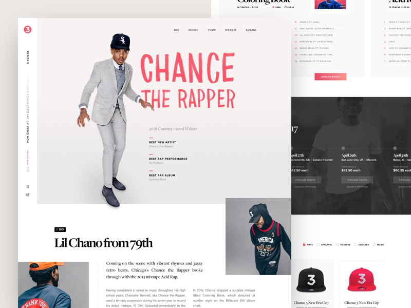 Chance the Rapper – Landing Page redesign landing page music band web website ui web design concept single page sketch chance the rapper