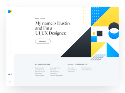 Homepage - DustinPutnam.com clean minimalistic minimal typography geometric branding homepage landing page portfolio