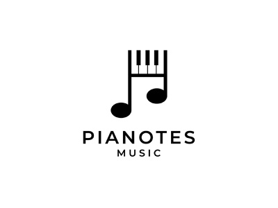 Pianotes Logo symbol smart play piano mark logo lines keyboard company branding dual meaning music notes music notes identity clever brand abstract