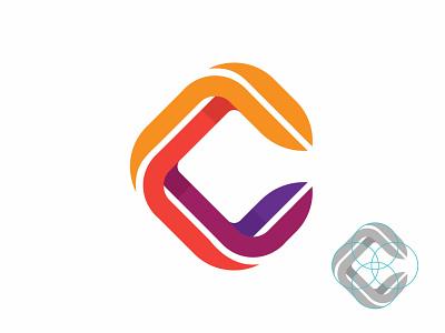 C Logo mark smart button play negative space monoline designer logotype logomark lettermark letter c layout grid branding brand identity logo design app