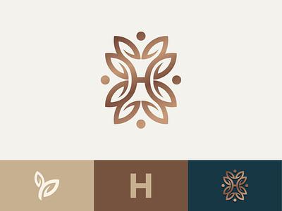 H + Leaf type typography nature logodesigner minimalist leaf logodesign branding brand identity