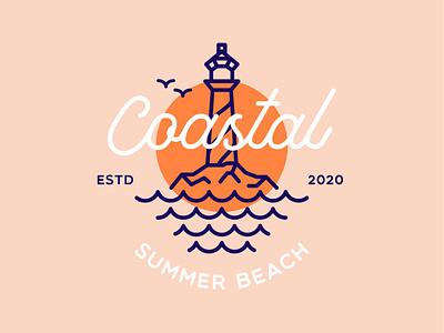 Coastal Summer Beach design creative vector nature lighthouse light landscape sea coastal beach wave retro badge vintage brand logo design illustrations illustration