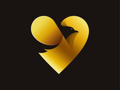 Gold Eagle with Love zoo vector mark logo heart love illustration icon gradient eagle branding bird animal
