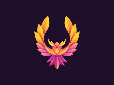 Colorful Bird logo identity gradient freelance flat logo falcon branding eagle mark bird bird logo bird icon animal