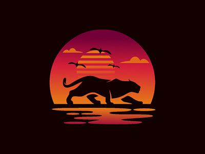 Jaguar + Sunset travel sunset shape sea nature moon logo landscape illustration dawn color cheetah lion jaguar colorful animal