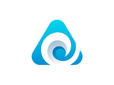 Letter A + Wave wave water symbol simple logo ocean modern logo mark logo vector logo designer logo design logo identity graphic design gradient logo curve clean logo branding brand design brand beach