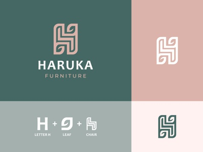 Haruka Furniture logotype architecture interior logo tree furniture chair brand furnishing table branding h logo letter green leaf nature mark symbol