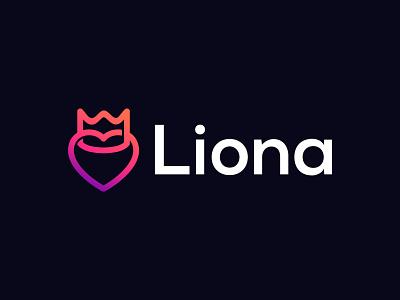 Liona salon jewelry symbol valentine love branding logo spa king crown heart