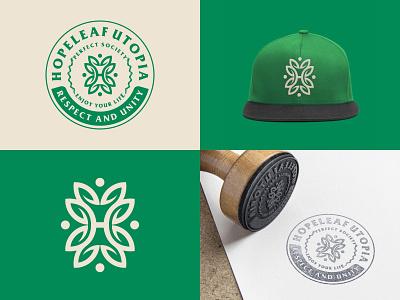 Hopeleaf Utopia future monogram badge logo brand identity vector modern minimal leaves circle design mark icon identity symbol nature leaf branding logo