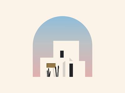 House landscape mark icon contruction building summer palm tree home minimalist house illustration identity design branding logo