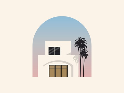 Palm House abstract tree palm building construction mark icon minimalist summer city home house real estate identity branding design illustration logo