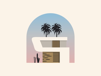 Minimalist House abstract tree palm landscape city real estate icon logo building construction architecture home design identity house illustration