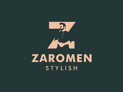Zaromen Stylish jacket suit haircut beard logo design clothing salon barbershop barber monogram design illustration hair fashion men identity branding logo type