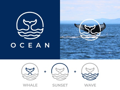 OCEAN water wave sea nature animal brand dolphin identity illustration design orca ocean icon fish whale branding logo