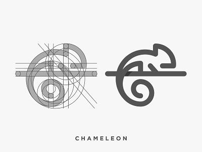 Chameleon identity cute monoline branding minimal 2d design symbol animal icon mark logo lizard chameleon