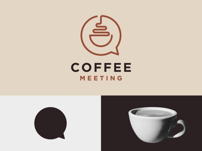 Coffee Meeting dualmeaning shop tea design identity symbol icon logo branding drink message talk cup coffee brew