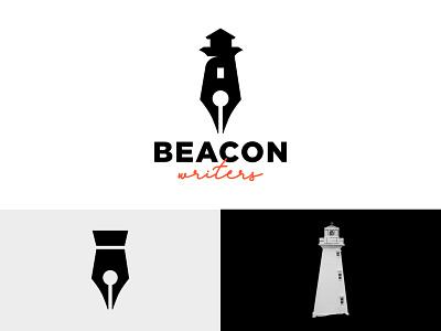 Beacon Writers writing illustration identity symbol mark icon branding logo writer pen sea ocean lighthouse