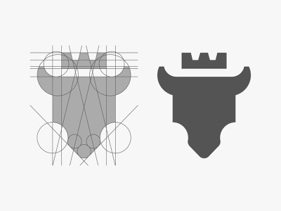 Bull clothing salon queen king design grid mark icon head symbol bison buffalo luxury horn branding logo cow animal crown bull