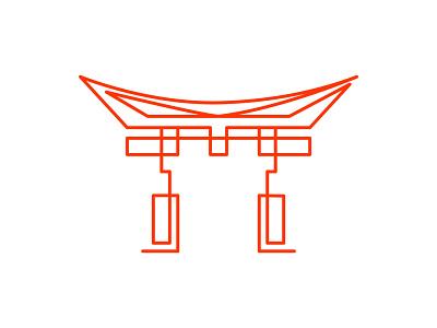 Japan building architecture identity icon branding logo city symbol mark illustration design traditional gate torii japan