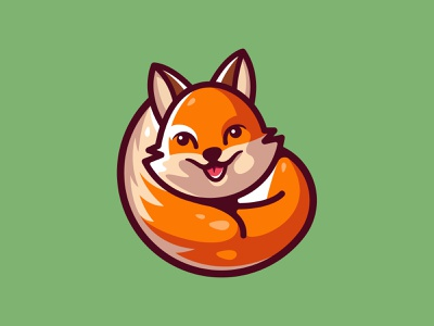 Cute Fox branding orange cartoon cute mascot foxlogo symbol mark icon design logo identity smile logo design fox illustration