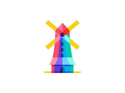 Windmills travel holiday tower famous mark landscape sky windmills landmark architecture building symbol identity branding logo art colorful icon design illustration