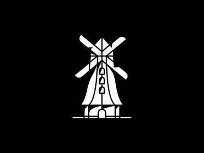 Windmills village holiday famous tower minimal simple city branding landmark symbol mark icon sky landscape windmills logo architecture design building illustration