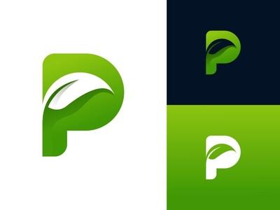 Letter P + Leaf Logo