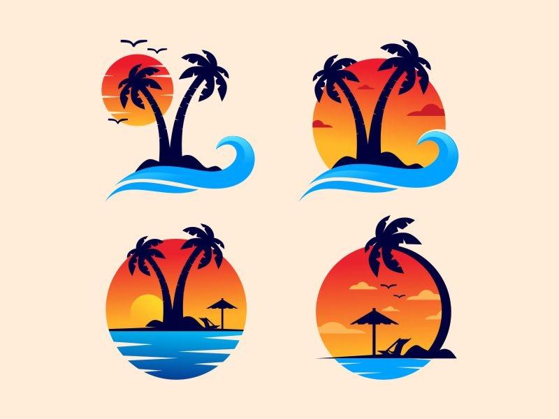 Sunset Logo vector symbol beach palm tree palm lounge logo wave logo waves island good vibes branding illustration icon gradient brand sunset
