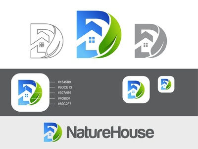 Letter D + House + Leaf