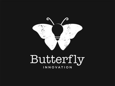 Butterfly + bulb logo