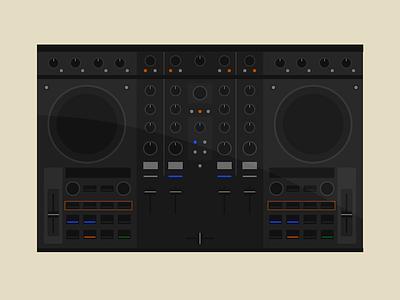 Kontrol S4 vector 2d flat design decks dj mixer illustration