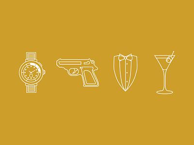 #3 Bond, James Bond james bond 007 watch pistol suit bow tie martini 2d minimal flat