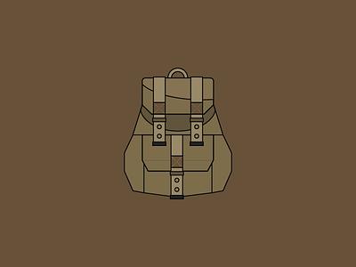 Backpack Icon brown backpack vintage illustrator