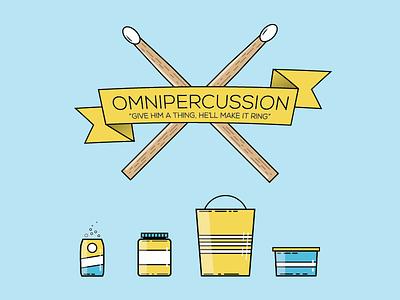 Mr. Omnipercussion postcard percussion drum sticks can jar bucket tupperware flat illustrator
