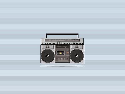 Boom 90s boom box music hip hop illustrator vector
