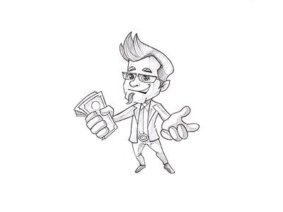 Man With Money Sketch mascot sketch man sketch character sketch sketching pencil sketch draw sketch