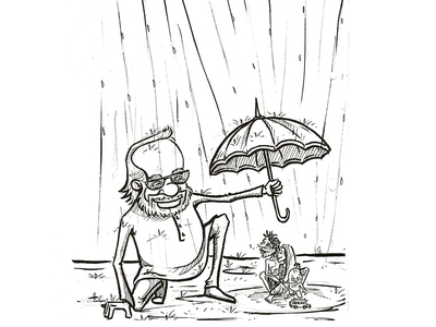 Man Is Helping People - Cartoon Sketch character sketch cartoon sketch drawing sketching pencil sketch draw sketch