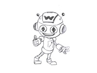 Cartoon Robot Sketch Design