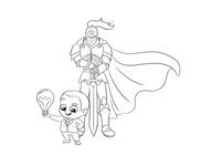 Superhero And Boy Sketch Design