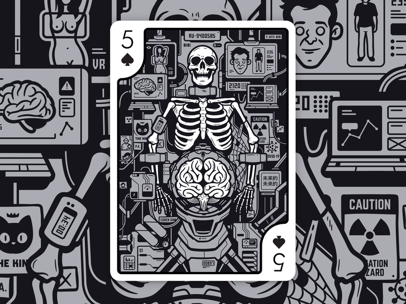Playing Arts - Future - Entry digital art design vector cohen gum illustration vector art future black and white digital illustration character design vector design vector illustration playing cards card deck playing arts