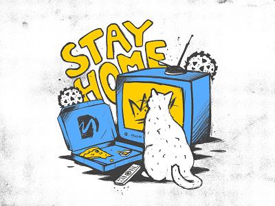 Stay Home illustrate illustration ipad procreate мартовский коронавирус quarantine home fastfood food eat pizza box pizza movie cats cat martovsky covid-19 covid19 coronavirus