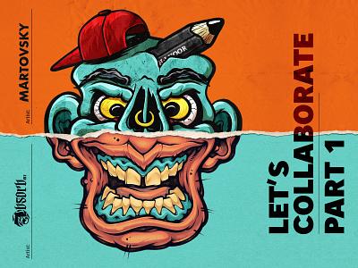 Absorb81 x Martovsky | LET'S COLLABORATE #1 collabwithabsorb81 procreateapp череп иллюстрация мартовский insane zombie snapback pencil skull collaboration collaborate collab procreate art procreate illustration absorb81