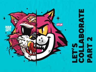 Ekiem x Martovsky   LET'S COLLABORATE #2 коллаб кот мартовский sticker illustrate illustration collab dirt procreate collaborate collaboration animals cats cat