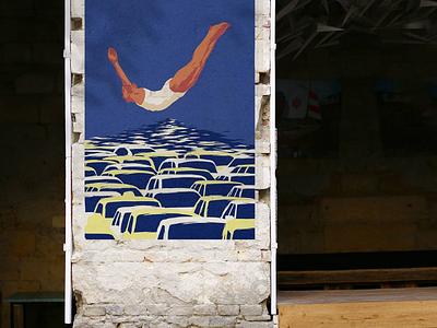 "Poster ""Flow"" car auto pool martovsky ussr soviet illustrate illustration art posters poster flow"