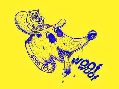 Woof - woof! doodles doodle brain doggy pet pets animal animals sketch yellow martovsky good boy cat dog woof